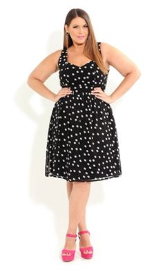 Curvy Fashionista Black Polka Dot Dress polkadot spot black