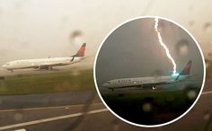 The exact moment a lightning strike hit a plane while on a runway in Atlanta http://koblist.com/lightning-strikes-140/