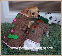 (4) Name: 'Crocheting : Christmas Gingerbread Dog Sweater