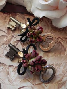 Boutonniere Vintage Keys by ForeverBouquet on Etsy, $72.00