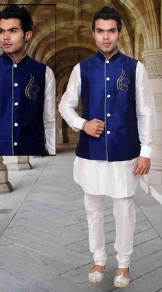 White Art Silk Long Blue Nehru Jacket Style Kurta Pyjama