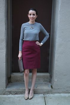 Incorporate Marsala into your perfect fall office outfit: a pencil skirt, crew neck sweater, & a statement necklace. www.thedarlingdesk.com