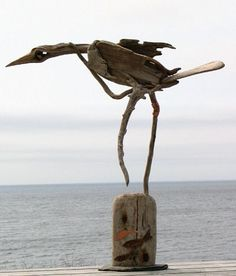 Driftwood Bird Sculpture