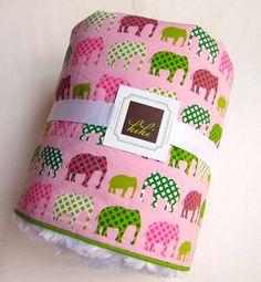 Baby Blanket Urban Circus Elephant/ Pink/ Minky by kikikiddos, $49.00