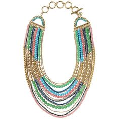 Stella & Dot Zahara Bib Necklace (¥30,585) ❤ liked on Polyvore featuring jewelry, necklaces, accessories, collares, collane, bead necklace, multi-chain necklace, layered chain necklace, chain collar necklace and ball chain necklace