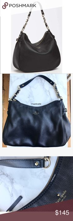 Kate Spade Cobble Hill Findley Hobo Bag 100% authentic Kate Spade cobble hill findley hobo bag -  richly pebbled leather hobo detailed with buckled gussets and a chain-accented strap -dustbag not included - interior zip, wall and cellphone pockets - excellent preloved condition, some wear to the corners and a small spot on the bottom where the leather has rubbed down a bit - still looks great - DIMENSIONS: 14.5 inches across x 9.25 inches height x strap drop of about 12.5 inches (due to it…