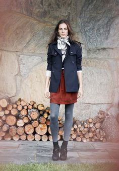 Emma Short Trench, Mary Intarsia Sweater, Lucille Skirt, Gatsby Head Scarf (SprI 2012) via Club Monaco
