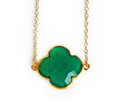 EMERALD green onyx clover necklace