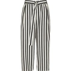River Island Petite beige stripe print culottes (€63) ❤ liked on Polyvore featuring pants, capris, bottoms, beige, cropped pants, women, white pants, beige pants, white crop pants and white striped pants