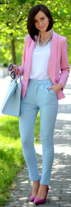 Combinación de tonos pastel. Romwe Pink Lovely Girly Blazer by Daisyline