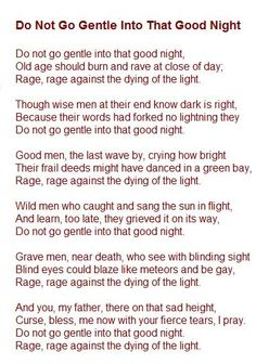 Do Not Go Gentle Into That Good Night by Dylan Thomas - YouTube