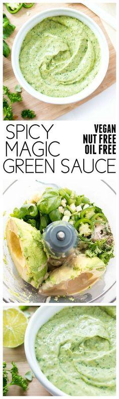 Spicy Magic Green Sauce--use as dipping sauce, sandwich spread, marinade, salad dressing. Vegan Sauces, Vegan Foods, Vegan Dishes, Vegetarian Sandwich Recipes, Spicy Vegetarian Recipes, Raw Food Recipes, Mexican Food Recipes, Cooking Recipes, Healthy Recipes