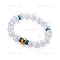 pulsera de perla brillo con bola dorado acero inoxidable -SSBTG924388