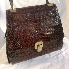 Vintage crocodile skin bag brown. 60s CESARE by paws4harry on Etsy