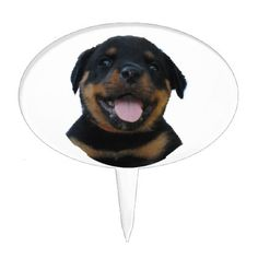 Happy Male Rottweiler Puppy Cake Topper - kitchen gifts diy ideas decor special unique individual customized
