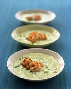Avocado-Cucumber Soup with Shrimp