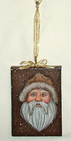 Mini Canvas Santa Orniment  Hand Painted by FromGramsHouse on Etsy, $15.00