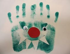 Preschool Playbook: Big Green Monster Use the children's hand prints and footprints to make a small story book with photos, Christmas presents