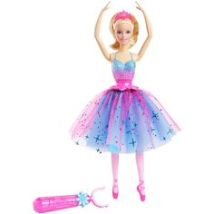 Dance the day away with this Barbie twirling ballerina doll that brings performance and possibilities to life! You control the choreography, choosing when the beautiful prima ballerina spins. Simple and magical, the mechanism is easy to work. Clip the pink wand, adorned with a fairytale icon, to the waist of the doll, and press down - Barbie doll bends into a classic plie, and her body spins gracefully, causing her skirt to float and flow. Designed with a layer of blue and a sheer pink…