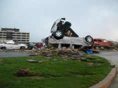 Hospital parking lot.  You can see the widows have been blown out...this was one of the 1st sites, the media gathered.