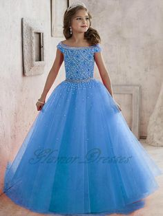 2017 New Tulle Ball Gown Girls Pageant Dresses