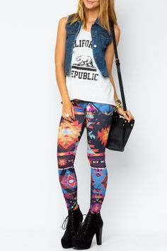 Funky Tribal Print Leggings