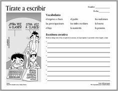 Escribe un diálogo entre el hijo y el padre de la caricatura en el que expresen lo que sienten sobre el regreso a clases.