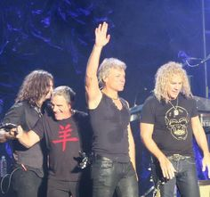 A recent live pic of the new Bon Jovi line - up:I love the particular of Phil X holdin' Tico Torres hand!