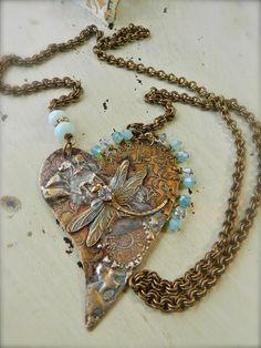 #Dragon Fly Brass #Heart #Pendant