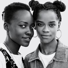 Lupita Nyong'o & Letitia Wright Reflect on Being in 'Black Panther': Photo Lupita Nyong'o and Letitia Wright are two of the bad-ass women you'll see in the upcoming Marvel movie Black Panther and they're interviewing each other for a… Black Girls Rock, Black Girl Magic, Shuri Black Panther, Pretty People, Beautiful People, Beautiful Ladies, Model Tips, Letitia Wright, Meagan Good