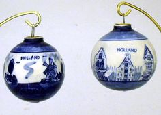 Set of 2 Delft Ball Ornaments