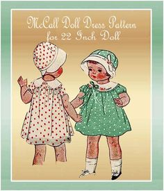 1930s  McCall Doll Dress Pattern --Vintage Pattern for a 22 Inch doll. Love this sweet little dress---- and the cloche hat too. Pattern is dated 1933