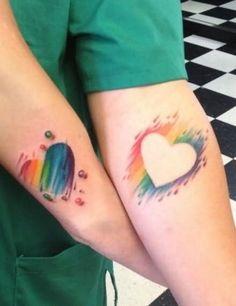Colorful Heart Couple Tattoo