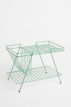 Magazine Rack and Basket in Turquoise