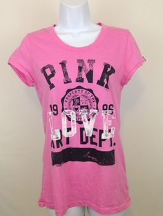 Women's Victoria's Secret PINK T Shirt Sz L Love Pink Art Dept. 'Work of Art'  #VictoriasSecret #GraphicTee #Casual