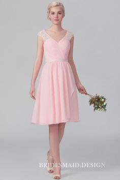 Sweetheart pink chiffon short A-line sweet bridesmaid dress with lace cap sleeve straps. Lace Bridesmaids Gowns, Vintage Bridesmaid Dresses, Knee Length Bridesmaid Dresses, Affordable Bridesmaid Dresses, Designer Bridesmaid Dresses, Bridesmaid Dresses Online, Bridesmaid Ideas, Chiffon Dress, Lace Dress
