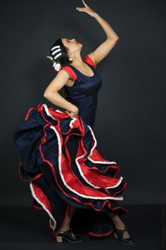 Flamenco Dress flamenco dance blue red and white por Khokhodesigns