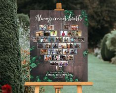 Funeral Memorial, Memorial Gifts, Memorial Ideas, Funeral Reception, Funeral Posters, Heart Collage, Guest Book Table, Picture Boards, Sign Display