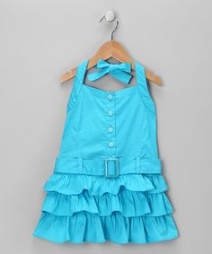 Take a look at this Aqua Ruffle Halter Dress - Toddler by Time to Wow: Girls' Colorful Dresses on #zulily today!