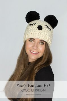 Panda+Pompom+Hat+Free+Crochet+Pattern+1.jpg 1,066×1,600 pixeles