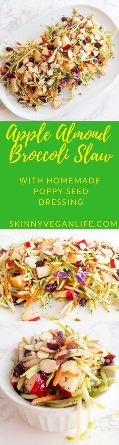 Apple Almond Broccoli Slaw with Poppy Seed Dressing