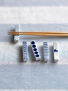 hashi-oki - blue and white Japanese chopstick rests Ceramic Tableware, Ceramic Clay, Ceramic Pottery, Kitchenware, Chopstick Holder, Chopstick Rest, Japanese Ceramics, Japanese Pottery, Japanese Chopsticks