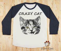 Crazy Cat TShirt Cat Wink Shirt Cat Eyes Yellow Shirt by MoodCatz, $20.00