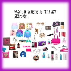 """""""What to bring to a 5 day sleepover 3"""" by cupcakedalover on Polyvore"""