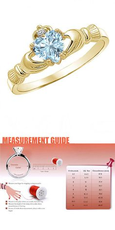Other Wedding Jewelry 164311: Heart Shaped March Birthstone Aquamarine 14K Yellow Gold Finish Claddagh Ring BUY IT NOW ONLY: $31.97