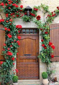 """""""I want to be a little flower, growing around your door. Cool Doors, Unique Doors, Porch Windows, Windows And Doors, Entrance Doors, Doorway, Window Box Flowers, Garden Doors, Door Knockers"""