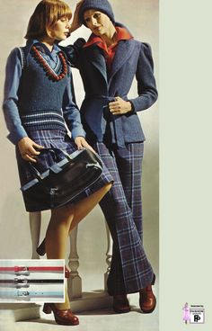 I love this 70s coordinated office attire! I need some kick flare tartan trousers.