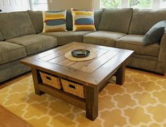 DIY Rustic Plank Coffee Table