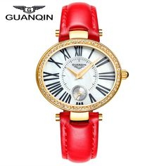 >> Click to Buy << 2015 new fashion Watches women Luxury Brand GUANQIN Genuine Leather Strap Casual Waterproof Watch Silver Ladies Dress Watches #Affiliate