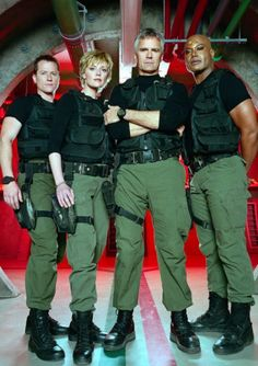 Corin Nemec, Amanda Tapping, Richard Dean Anderson, and Christopher Judge
